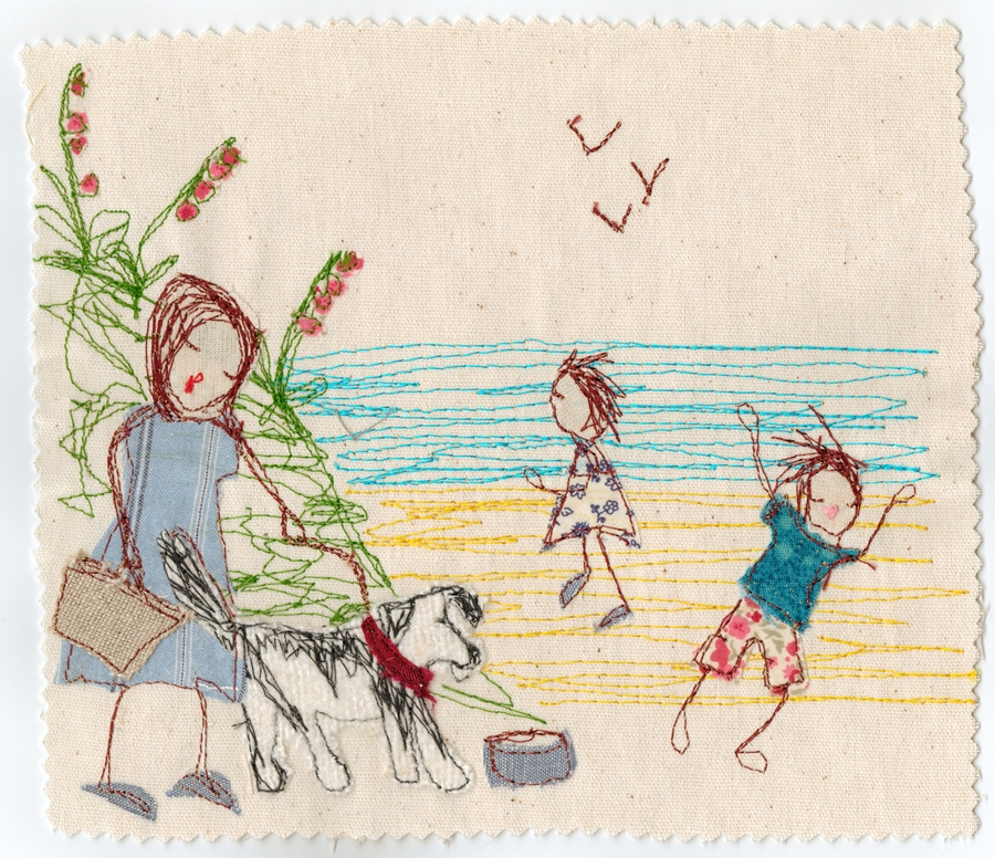 Large format poster of children at the beach