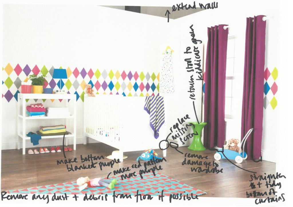 Room set purple curtains