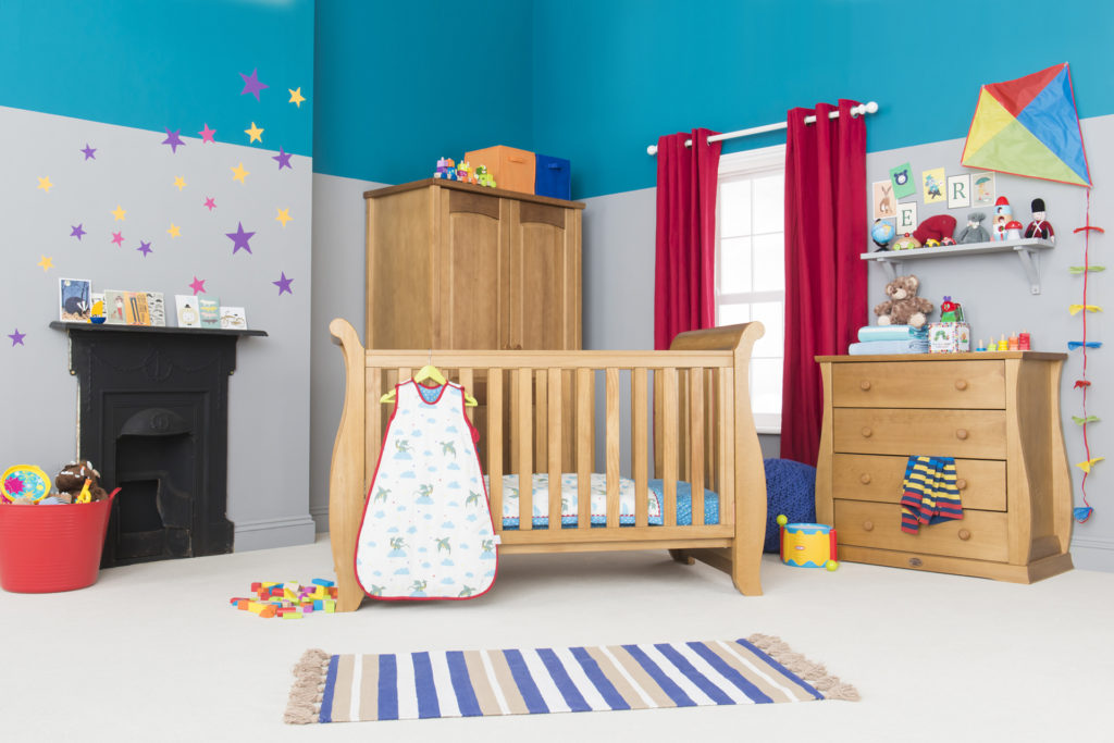 post production of blue wall with window and wooden cot