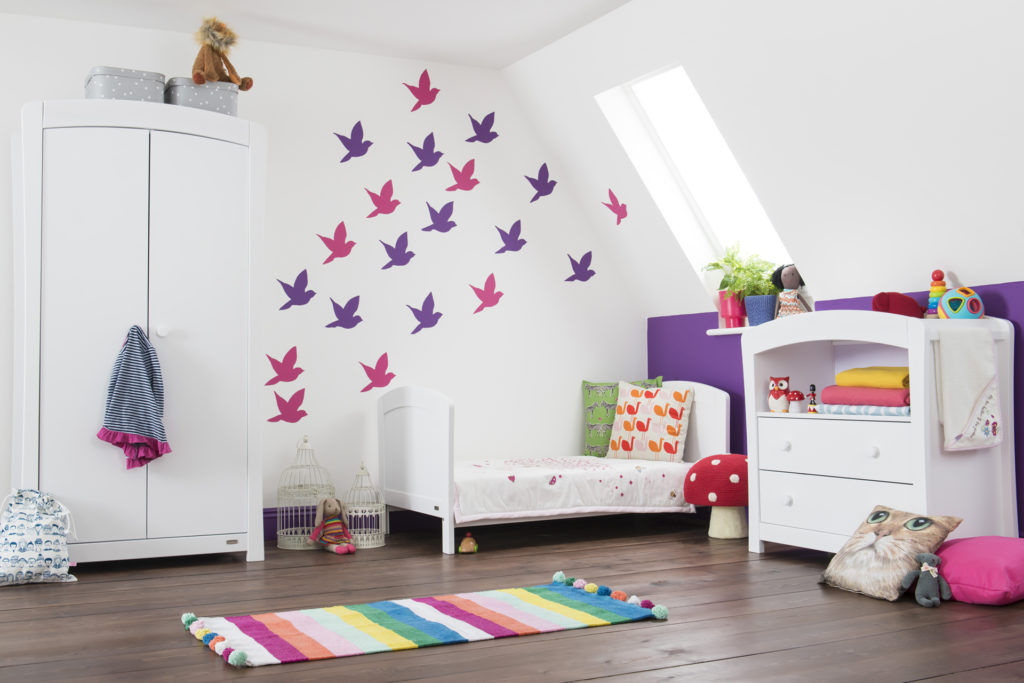 post production of white room with wall art pink birds